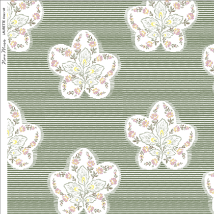 Linen fabric printed design with delicate floral repeat pattern in white and pastel on fine stripe green background