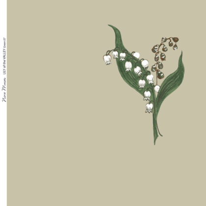 Linen fabric printed design with traditional style delicate floral sparse repeat pattern in green on green background