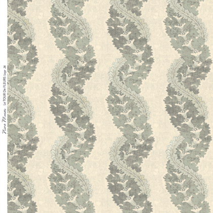Linen fabric printed design with traditional style delicate floral repeat stripe pattern in sage green on neutral background