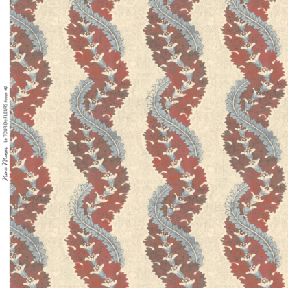 Linen fabric printed design with traditional style delicate floral repeat stripe pattern in warm red and pale aqua blue on neutral background