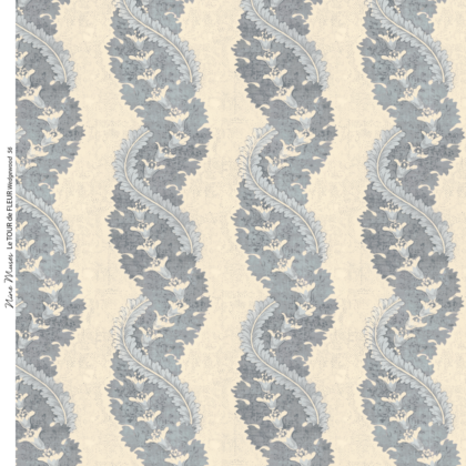 Linen fabric printed design with traditional style delicate floral repeat stripe pattern in Wedgwood pale blue on neutral background