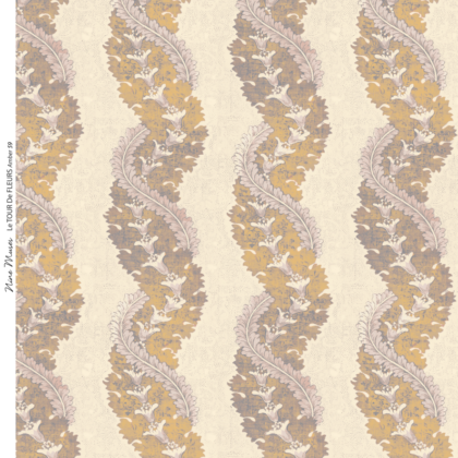 Linen fabric printed design with traditional style delicate floral repeat stripe pattern in amber on neutral background