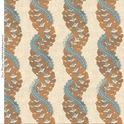 Linen fabric printed design with traditional style delicate floral repeat stripe pattern in orange and teal on neutral background