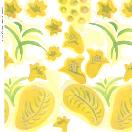 Linen fabric printed with a hand painted floral design repeat pattern in yellow and green on white background
