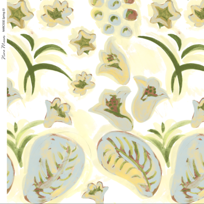Linen fabric printed with a hand painted floral design repeat pattern in pale yellow and green on white background