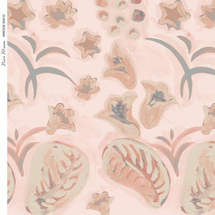 Linen fabric printed with a hand painted floral design repeat pattern in pink and taupe on pink background