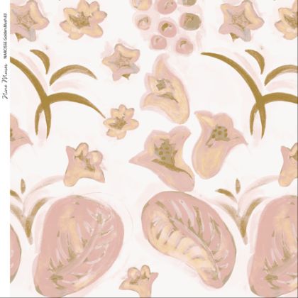 Linen fabric printed with a hand painted floral design repeat pattern in gold and pink on pale pink background