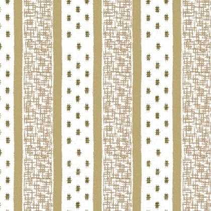 Linen fabric printed with repeat pattern stripe design white and gold