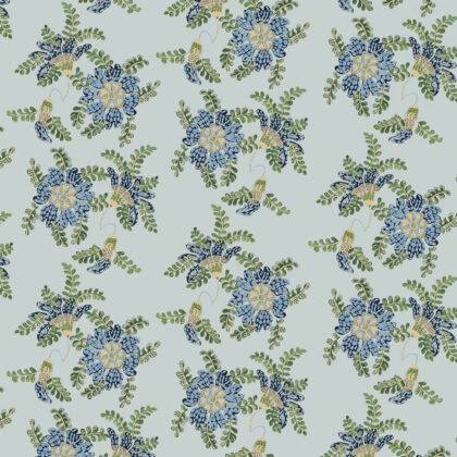 Linen fabric printed design with delicate floral and leaf repeat pattern in green taupe blue on aqua green background