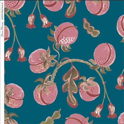 Linen fabric printed design with hand drawn delicate paint botanical fruit repeat pattern in dark pink on denim blue background