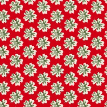 Linen fabric printed with small repeat flower pattern in simple design bright red background