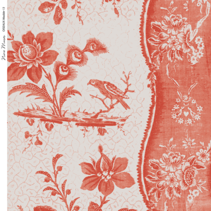 Linen fabric printed design with traditional style delicate floral repeat stripe pattern in orange red on neutral background