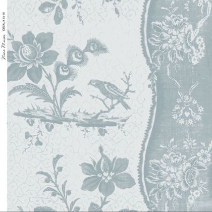 Linen fabric printed design with traditional style delicate floral repeat stripe pattern in pale ice blue on neutral background