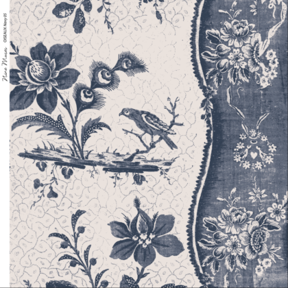 Linen fabric printed design with traditional style delicate floral repeat stripe pattern in navy on neutral background