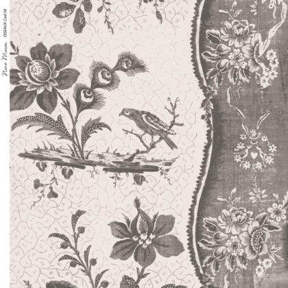 Linen fabric printed design with traditional style delicate floral repeat stripe pattern in coal brown grey on neutral background