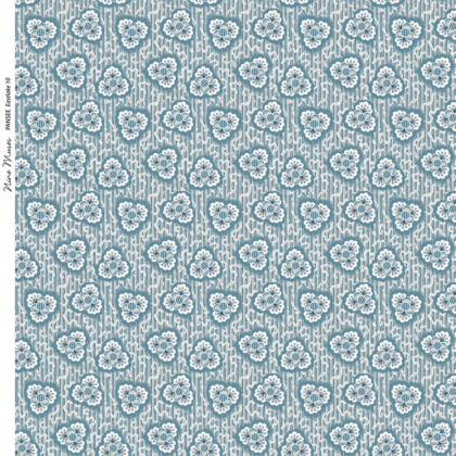 Linen fabric printed with a hand painted floral design repeat pattern in green blue turquoise on faintly striped background