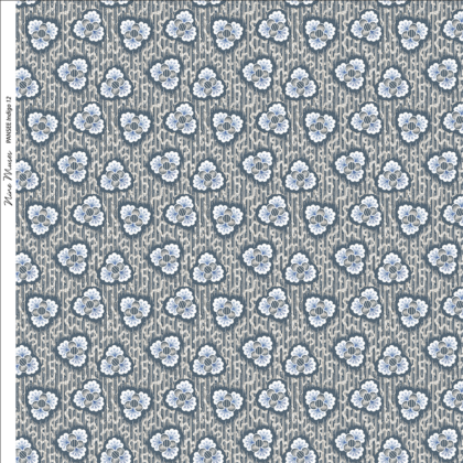 Linen fabric printed with a hand painted floral design repeat pattern in indigo blue on faintly striped background