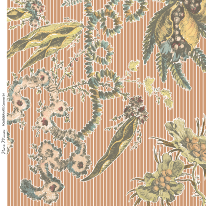 Linen fabric printed with delicate large repeat design of botanical pomegranate plant pattern on caramel pin stripe background