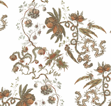 Linen fabric printed with delicate large repeat design of botanical pomegranate plant pattern on white background full pattern repeat