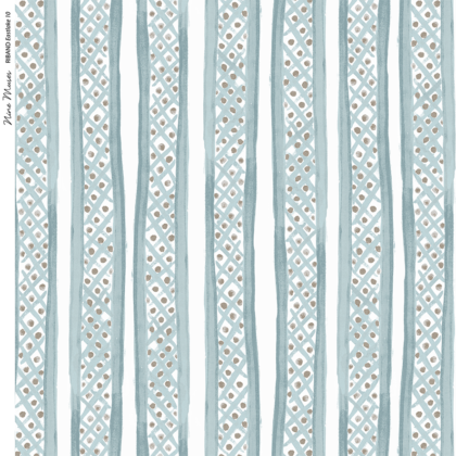 Linen fabric printed with a hand painted free stripe and diamond dot repeat pattern in pale blue green with white background