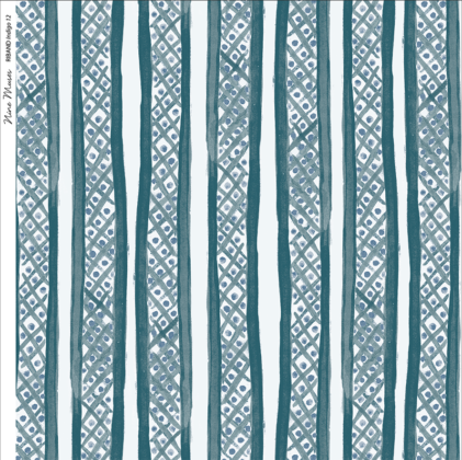 Linen fabric printed with a hand painted free stripe and diamond dot repeat pattern in indigo blue with white background