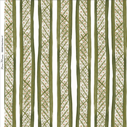 Linen fabric printed with a hand painted free stripe and diamond dot repeat pattern in khaki green with white background