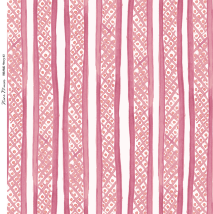 Linen fabric printed with a hand painted free stripe and diamond dot repeat pattern in bright pink with white background
