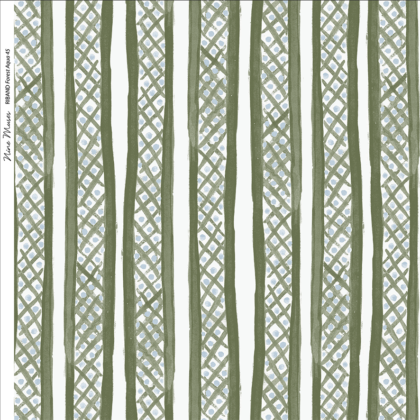 Linen fabric printed with a hand painted free stripe and diamond dot repeat pattern in green and pale aqua with white background