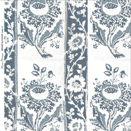 Linen fabric printed design with traditional style delicate floral repeat stripe pattern in indigo blue on white background