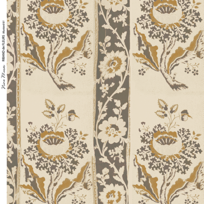 Linen fabric printed design with traditional style delicate floral repeat stripe pattern in mustard on neutral linen background