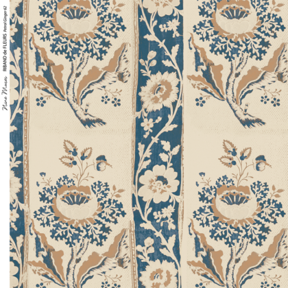 Linen fabric printed design with traditional style delicate floral repeat stripe pattern in dark blue and orange taupe on neutral linen background