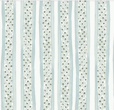 Linen fabric printed with a hand painted free stripe and diamond dot repeat pattern in pale green blue with white background