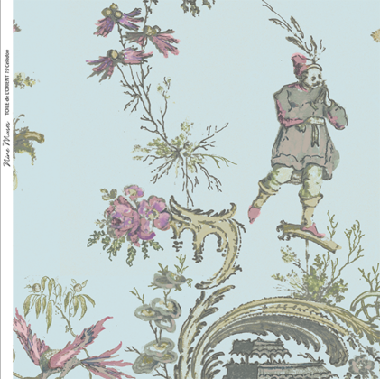 Linen fabric printed in traditional style figures and landscapes repeat pattern on pale green blue background