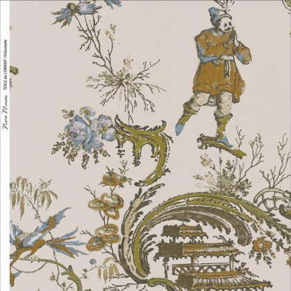 Linen fabric printed in traditional style figures and landscapes repeat pattern on pale taupe background