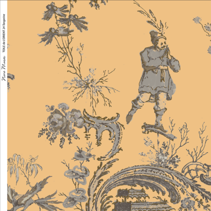 Linen fabric printed in traditional style figures and landscapes repeat pattern on yellow orange background