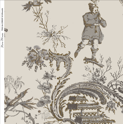 Linen fabric printed in traditional style figures and landscapes repeat pattern in charcoal on taupe background