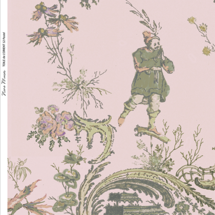 Linen fabric printed in traditional style figures and landscapes repeat pattern on pastel pink background
