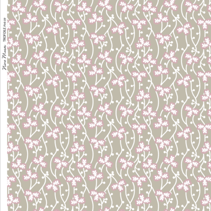 Linen fabric printed with a delicate small hand painted floral design repeat pattern in pink on taupe background