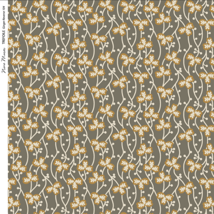 Linen fabric printed with a delicate small hand painted floral design repeat pattern in orange ginger on khaki taupe background