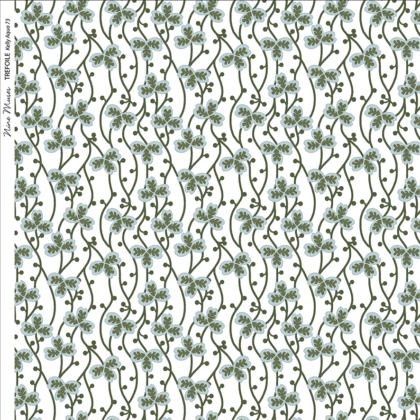 Linen fabric printed with a delicate small hand painted floral design repeat pattern in green and aqua on white background