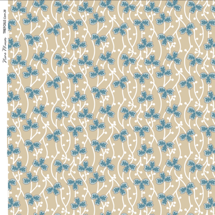 Linen fabric printed with a delicate small hand painted floral design repeat pattern in dark aqua on corn yellow background