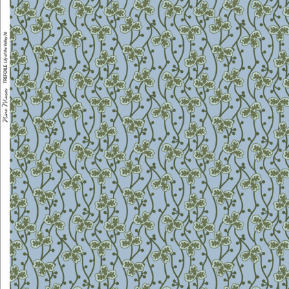 Linen fabric printed with a delicate small hand painted floral design repeat pattern in greens on dark aqua background