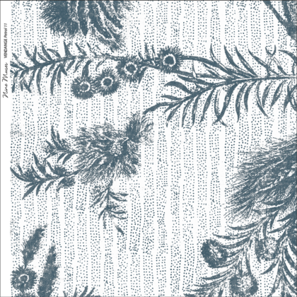 Linen fabric printed with delicate hand drawn botanical design with large pattern repeat on subtle stripe background in grey green blue white