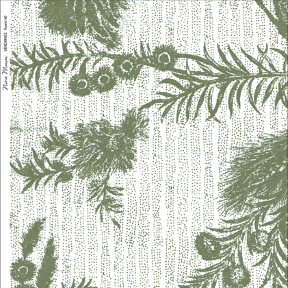 Linen fabric printed with delicate hand drawn botanical design with large pattern repeat on subtle stripe background in green white