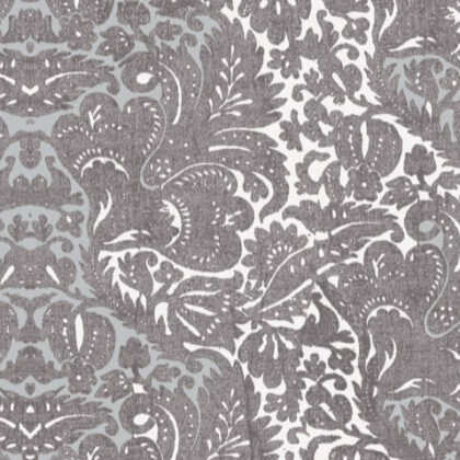Linen fabric printed with traditional style damask design in colour