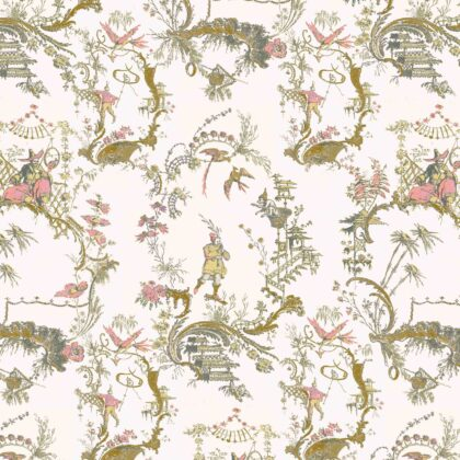 Linen fabric printed in traditional style figures and landscapes repeat pattern on pale white pink background