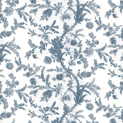 Linen fabric printed with a repeat pattern of delicate floral design in indigo blue on white background full repeat