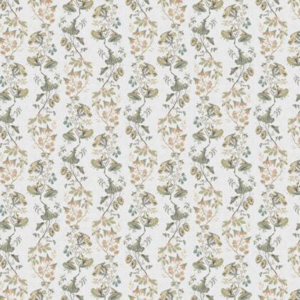 Full design of linen fabric with large repeated printed floral design pattern on dot background
