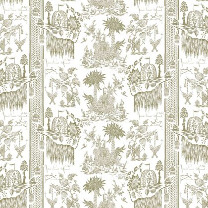 Linen fabric printed design with a delicate hand drawn traditional scenic toile repeat pattern in khaki green on white background full pattern repeat