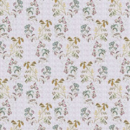 Linen fabric printed design with a delicate hand drawn traditional floral botanical repeat pattern on pale pink background full repeat